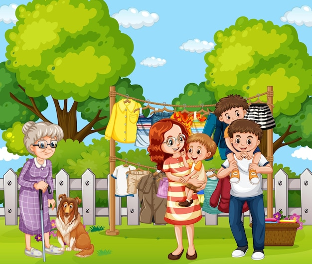 Escena al aire libre con familia feliz.