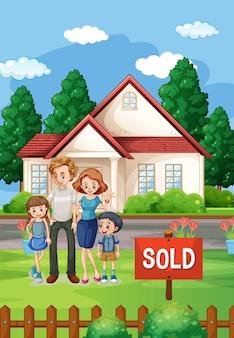 Escena al aire libre con familia de pie frente a una casa en venta