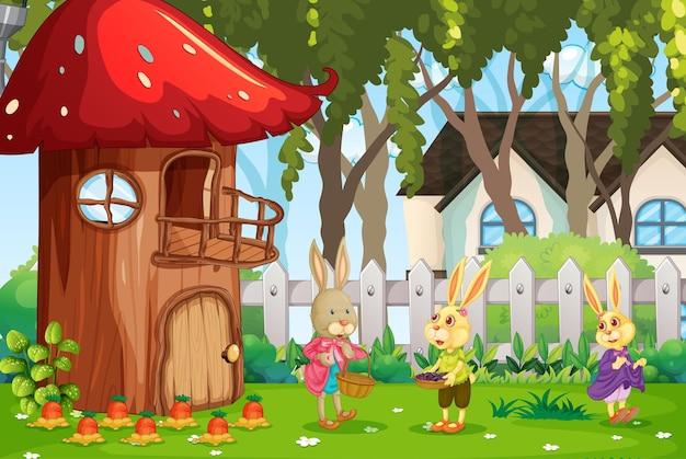 Escena al aire libre con feliz familia de conejos en el jardín.