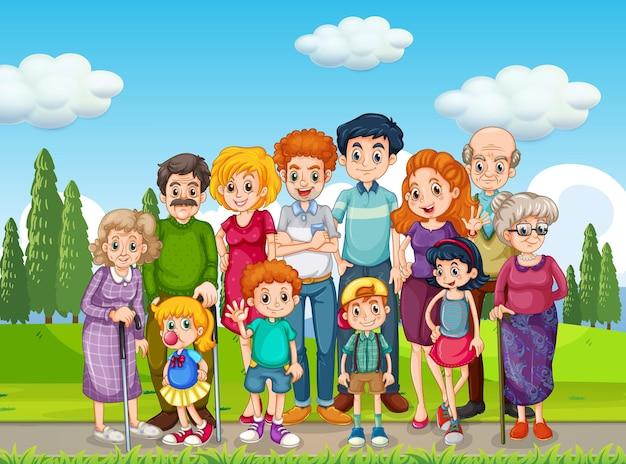 Escena al aire libre con gran grupo familiar.