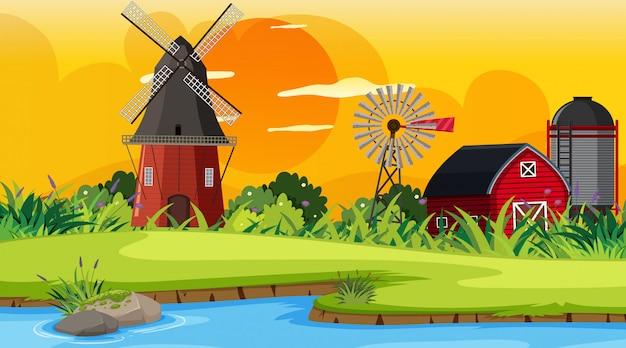 Una escena al aire libre con granja