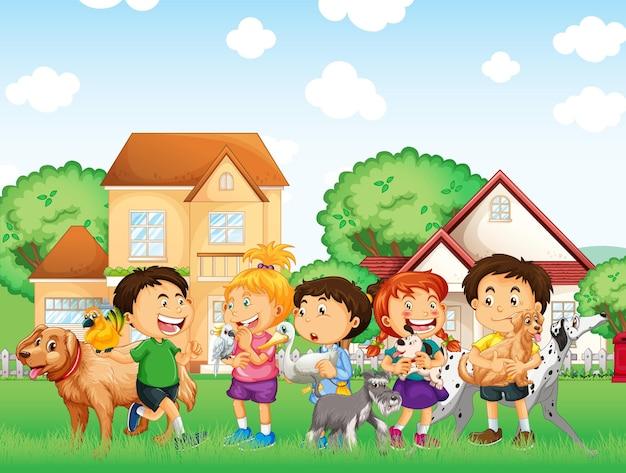 Escena al aire libre con grupo de mascotas y niños.