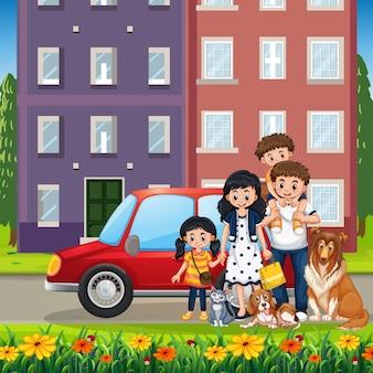 Escena al aire libre con ilustración de familia feliz