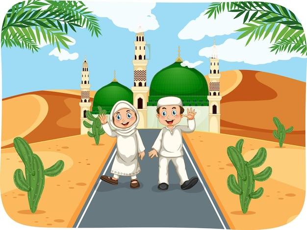 Escena al aire libre con ilustración de personaje de dibujos animados de niño y niña musulmanes
