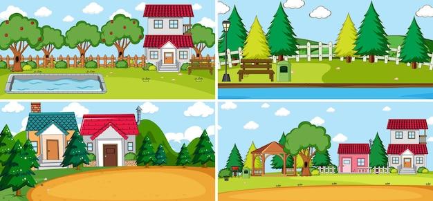 Escena al aire libre con muchos niños doodle personaje de dibujos animados