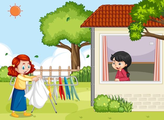 Escena al aire libre con una niña colgando ropa en tendederos.