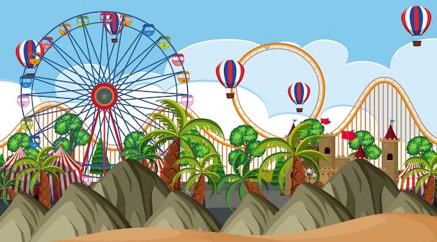 Una escena al aire libre con parque de atracciones
