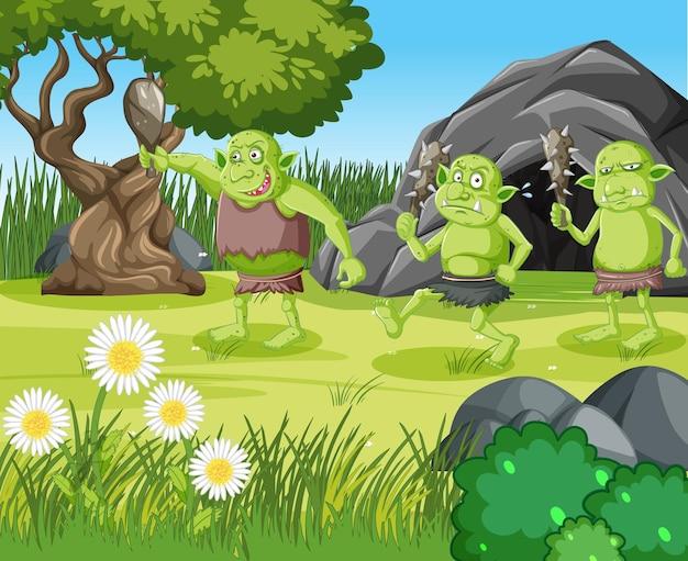 Escena al aire libre con personaje de dibujos animados duende o troll