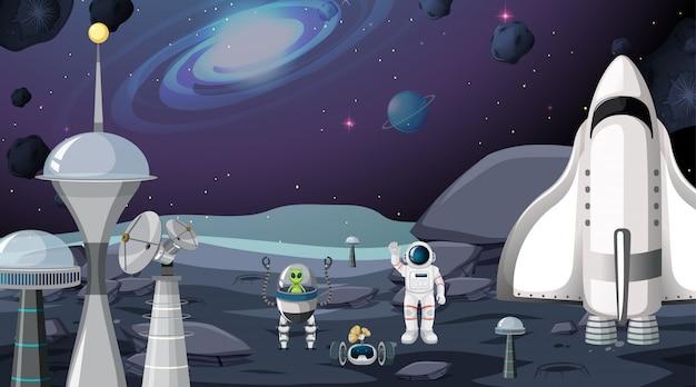 Escena de alien y astronauta