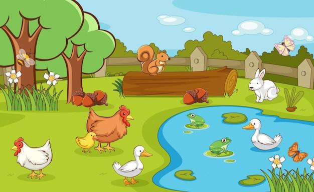 Escena con animales de granja en la granja