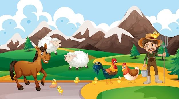Escena de animales de granja y granjero