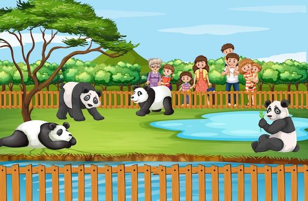 Escena con animales y personas en el zoológico.
