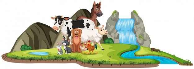 Escena con animales salvajes de pie junto a la cascada