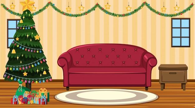 Escena con árbol de navidad junto al sofá