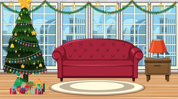 Escena con árbol de navidad en la sala de estar