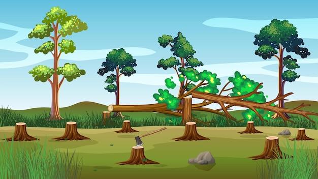 Escena con árboles cortados en el suelo.