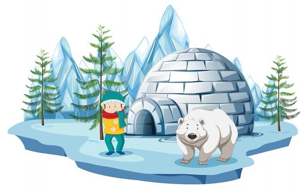 Escena ártica con niño y oso polar por iglú