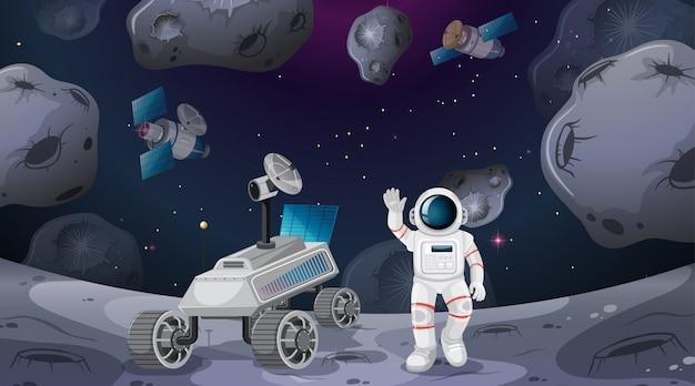 Escena de astronauta y rover