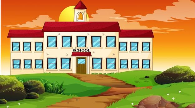 Escena del atardecer del edificio escolar