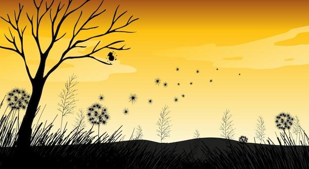 Escena del atardecer de silueta de naturaleza al aire libre