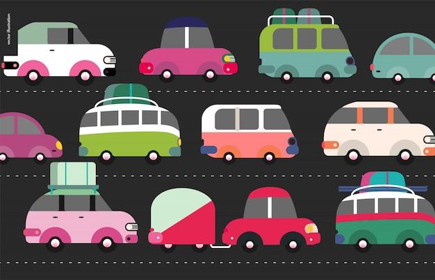 Escena del atasco de tráfico