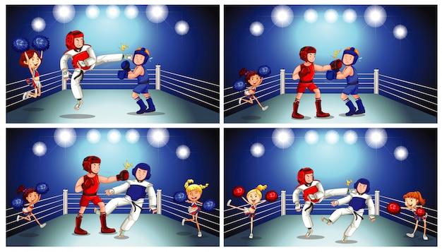 Escena con atletas peleando en el ring