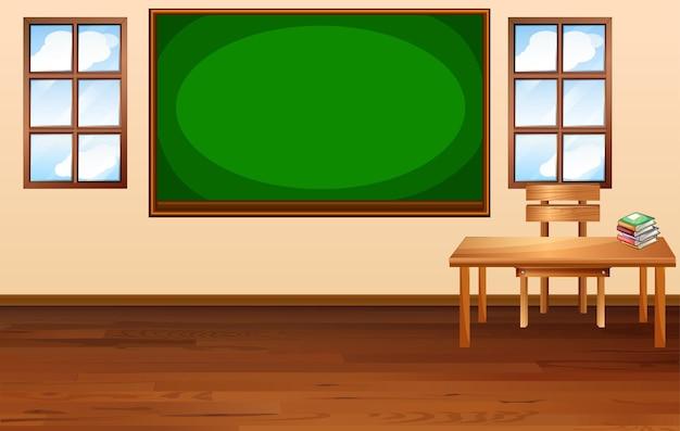 Escena de aula en blanco con pizarra vacía
