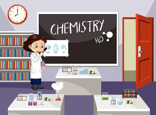 Escena del aula con estudiante de ciencias adentro