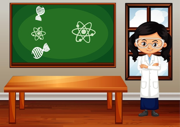 Escena del aula con estudiante de ciencias dentro.