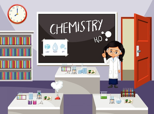 Escena del aula con estudiante de ciencias frente a la clase