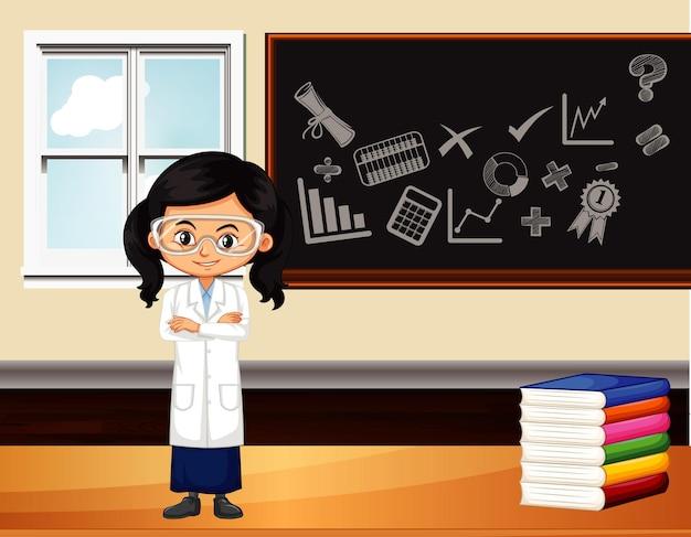 Escena del aula con estudiante de ciencias junto a la pizarra.