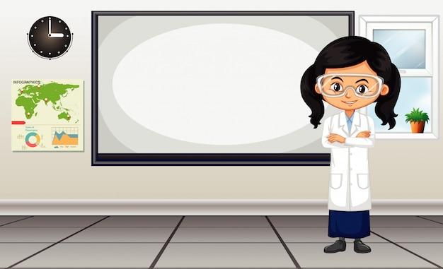 Escena del aula con estudiante de ciencias de pie junto al tablero