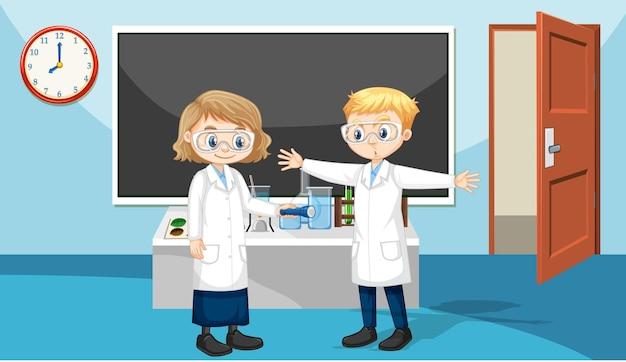 Escena del aula con estudiantes con bata de laboratorio.