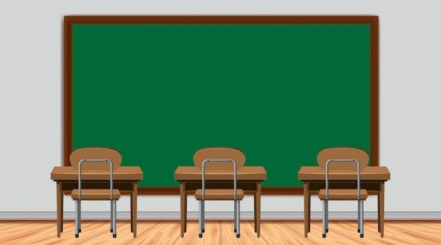 Escena del aula con pizarra y escritorios