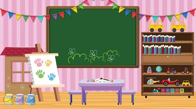 Escena del aula con pizarra y estantería