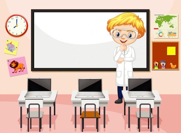Escena del aula con profesor de ciencias y computadoras
