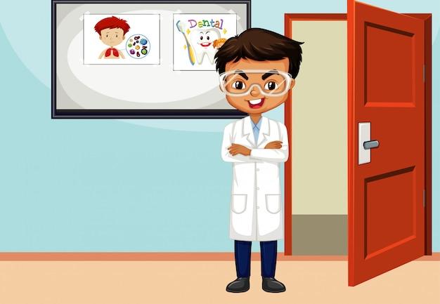 Escena del aula con profesor de ciencias dentro
