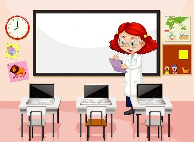 Escena del aula con profesor de ciencias escribiendo notas