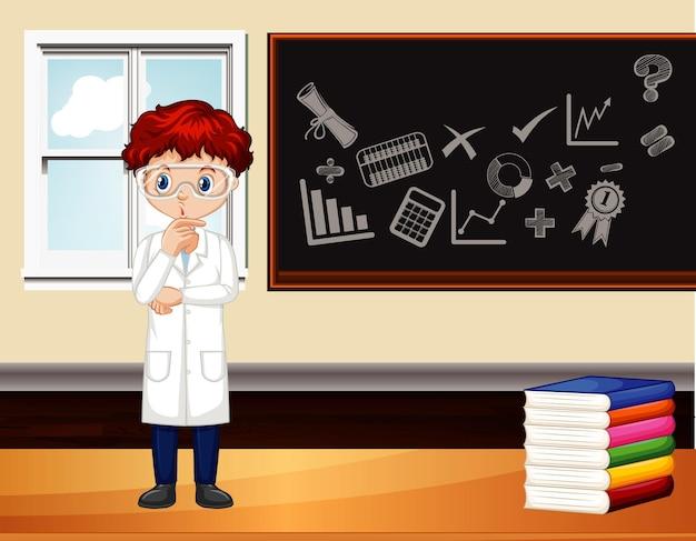 Escena del aula con profesor de ciencias junto a la pizarra.