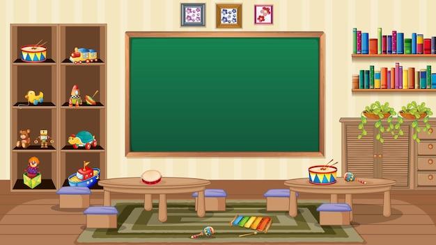 Escena de aula vacía con decoración de interiores y objetos
