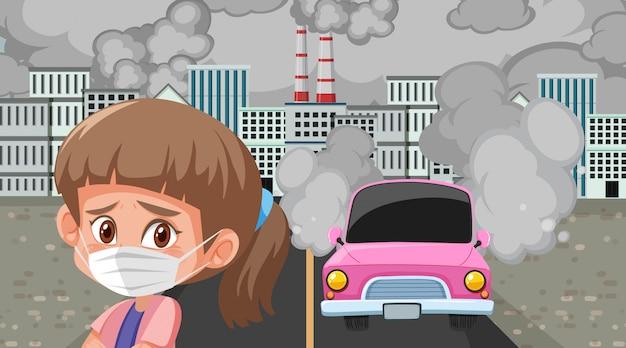 Escena con autos y edificios de fábricas haciendo humo sucio en la ciudad