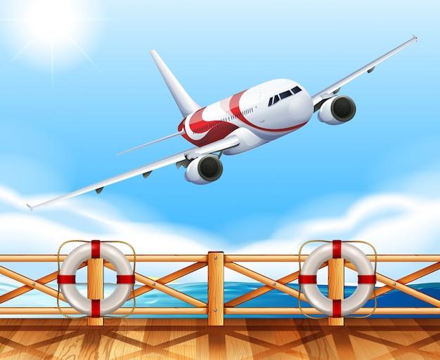 Escena con avión volando sobre el puente