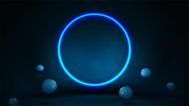Escena azul con esferas rebotantes realistas y anillo de neón.