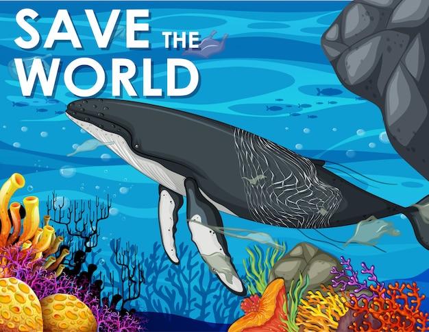 Escena con ballenas y bolsas de plástico.