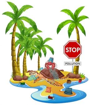 Escena con basura en la isla