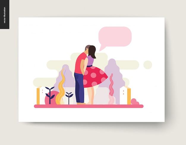 Escena de besos - ilustración vectorial de dibujos animados plana de pareja joven, novio y novia, besos, escena romántica