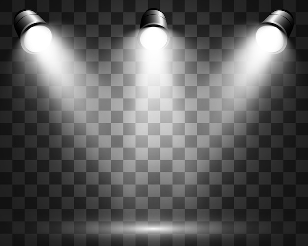 Escena blanca encendida con focos. ilustración.