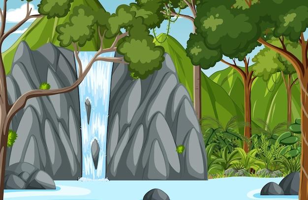 Escena del bosque con cascada.