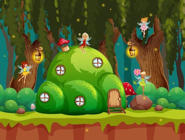 Una escena de bosque de cuento de hadas.