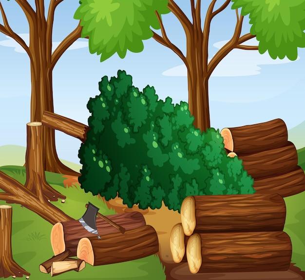 Escena del bosque con maderas cortadas.